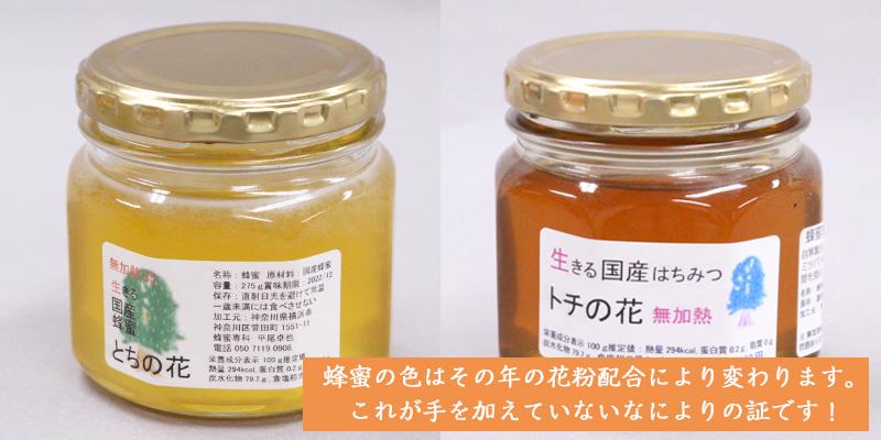 国産蜂蜜の色の違い